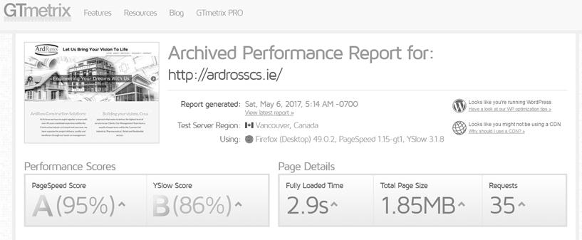 Ardross Construction Solutions Website Speed Optimization Ireland Website Performance Optimization Wordpress Optimization