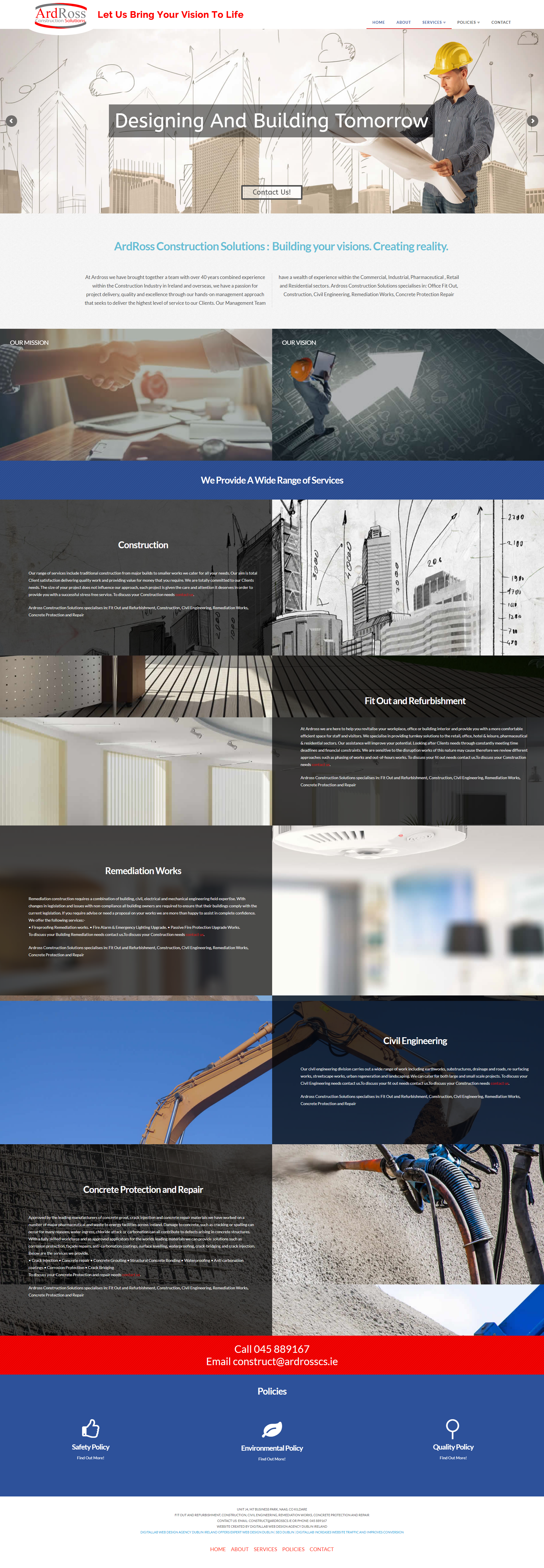 Ardross Construction Solutions bringing your vision to life website design and web development dublin and seo dublin by DigitalLab web design agency dublin