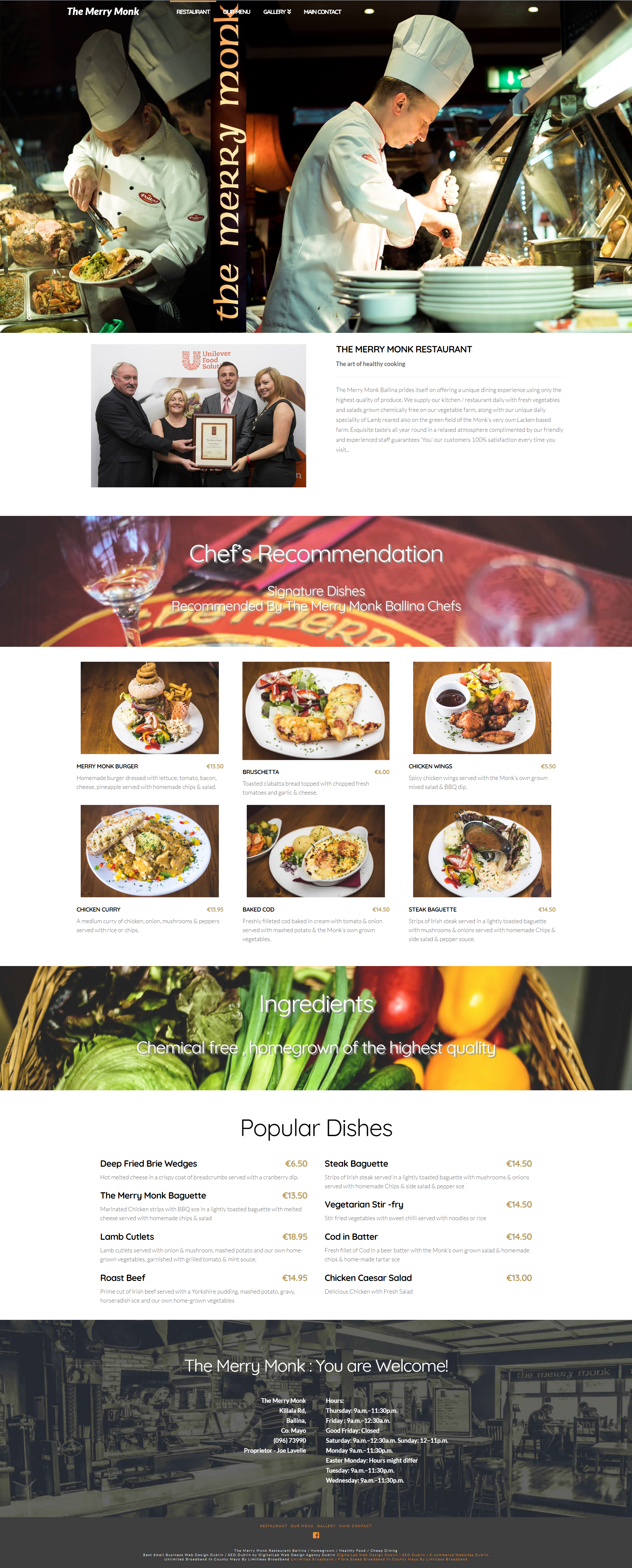 The Merry Monk restaurant ballina mayo website  designed and developed by DigitalLab web design agency dublin